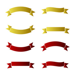 set of colored ribbons red yellow
