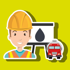 man and truck isolated icon design, vector illustration  graphic