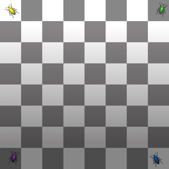 Optical illusion - the two squares in the right corners with the green and the blue beetle are the same grayscale - the shades of gray look different because of the shadow gradient.