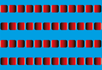 Illusory motion, optical illusion - the rows of red squares seem to sway leftward and rightward, and to run counter - seamless pattern with option to write your text between the moving lines.