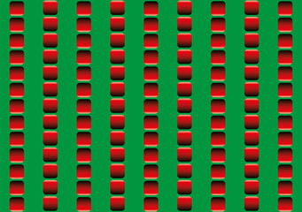 Optical illusion, illusory motion - the rows of red squares seem to move up and down, and to run counter - seamless wallpaper pattern in all directions can be created.