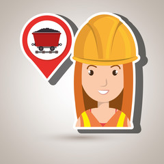 woman and mining isolated icon design, vector illustration  graphic