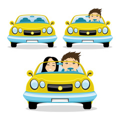 Happy couple in the yellow car.