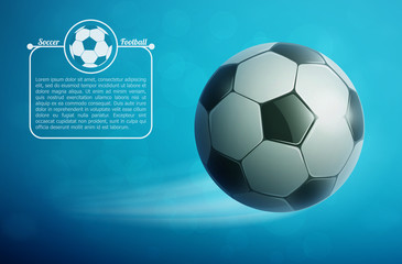 Soccer ball flying in air with grass. Football background.