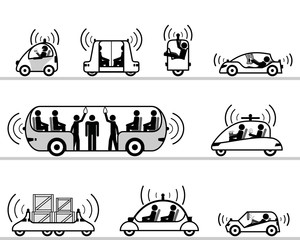 Self-driving cars pictogram collection