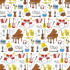 Musical instruments and symbols seamless background.