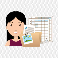woman with papers isolated icon design, vector illustration  graphic