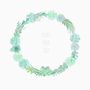 succulent wreath isolated on white
