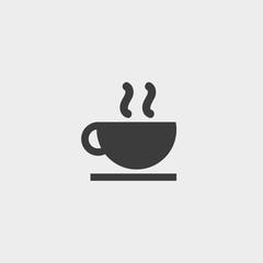 Hot drink icon in a flat design in black color. Vector illustration eps10