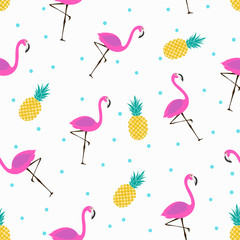 cute pattern with flamingos and pineapples