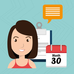woman with calendar and papers isolated icon design, vector illustration  graphic