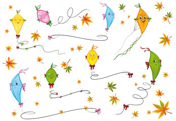 Kites and autumn leaves collection