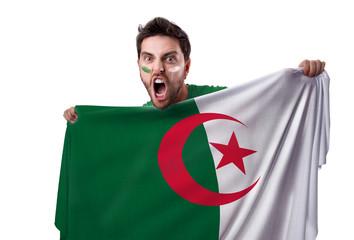 Fan holding the flag of Algeria