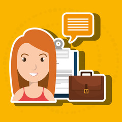 woman with suitcase and papers isolated icon design, vector illustration  graphic