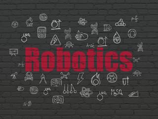 Science concept: Robotics on wall background