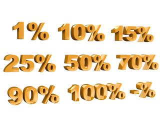 Percent symbol 3d rendering gold
