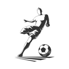 Soccer player silhouette in action.