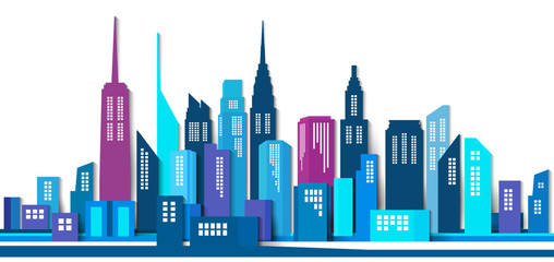 Vector Design - eps10 Building and City Illustration, Abstract Paper 3D Building, Abstract City scene