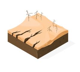 Isometric vector illustration of a Drought natural disaster icon. 