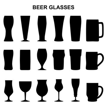 Set of silhouettes of beer glasses, vector illustration