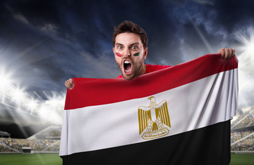 Fan holding the flag of Egypt