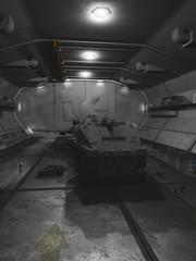 Interplanetary Spaceship in Repair Dock - science fiction illustration