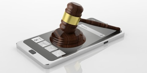Gavel on a smart phone. 3d illustration