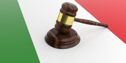 Gavel on an Italian flag. 3d illustration