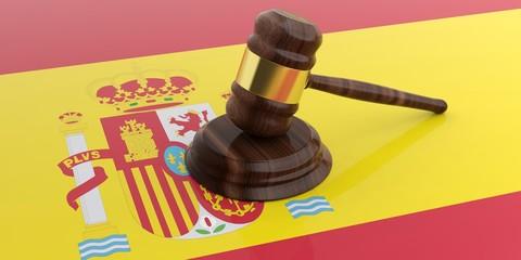 Gavel on a Spain flag background. 3d illustration