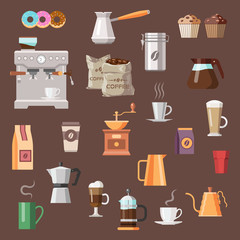 Coffee color icon set