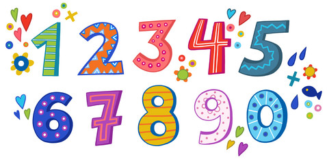 Цифры от 0 до 9 в детском стиле. Веселые и разноцветные