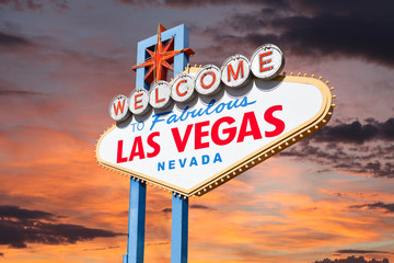 Aluminium Prints Las Vegas Las Vegas Welcome Sign with Sunrise Sky