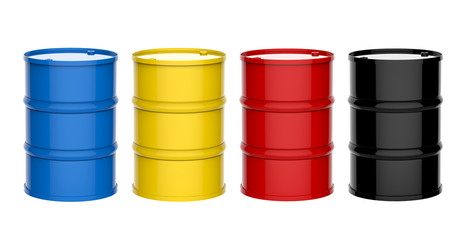 four colorful barrels on white background
