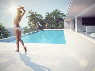 woman enjoying the sun at the endless pool. 3d rendering