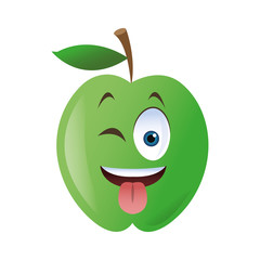 flat design wink tongue out apple cartoon icon vector illustration