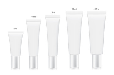White cosmetic tube collection arranged in order of size from small to large. Container vector for a mock up isolated on white background.