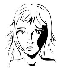 Zwart wit inkt kunst - portret vrouw droevig