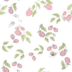 Cute cartoon seamless print pattern pink raspberries in pastel c