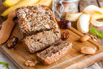 Banana bread with dates and nuts