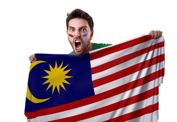 Fan holding the flag of Malaysia