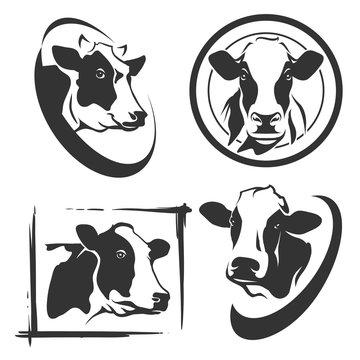 Cow head labels set