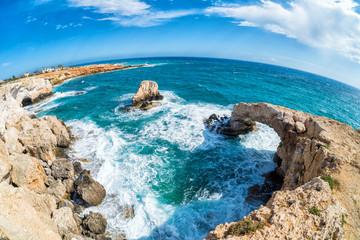Garden Poster Cyprus Natural stone arch (so called Love Bridge) in Agia Napa, Cyprus