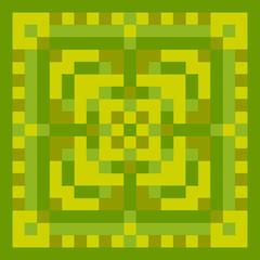 Pixel green ornament. Pixel geometric art. Vector illustration