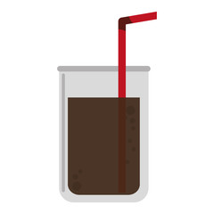 flat design disposable cup with straw icon vector illustration