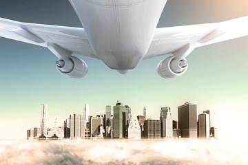 Airplane and peeking city