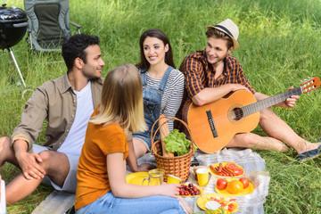 Young people enjoying friendly talk