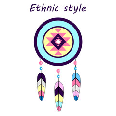color Dreamcatcher etnic style place for text icon vector