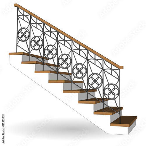 Quot Sample Traditional Staircase With Forged Openwork Railing