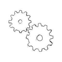 Tool concept represented by gear icon. Isolated and sketch illustration