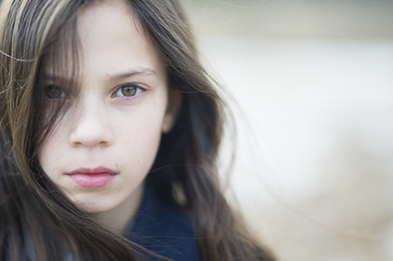 Sweden, Portrait of girl (10-11) with brown hair